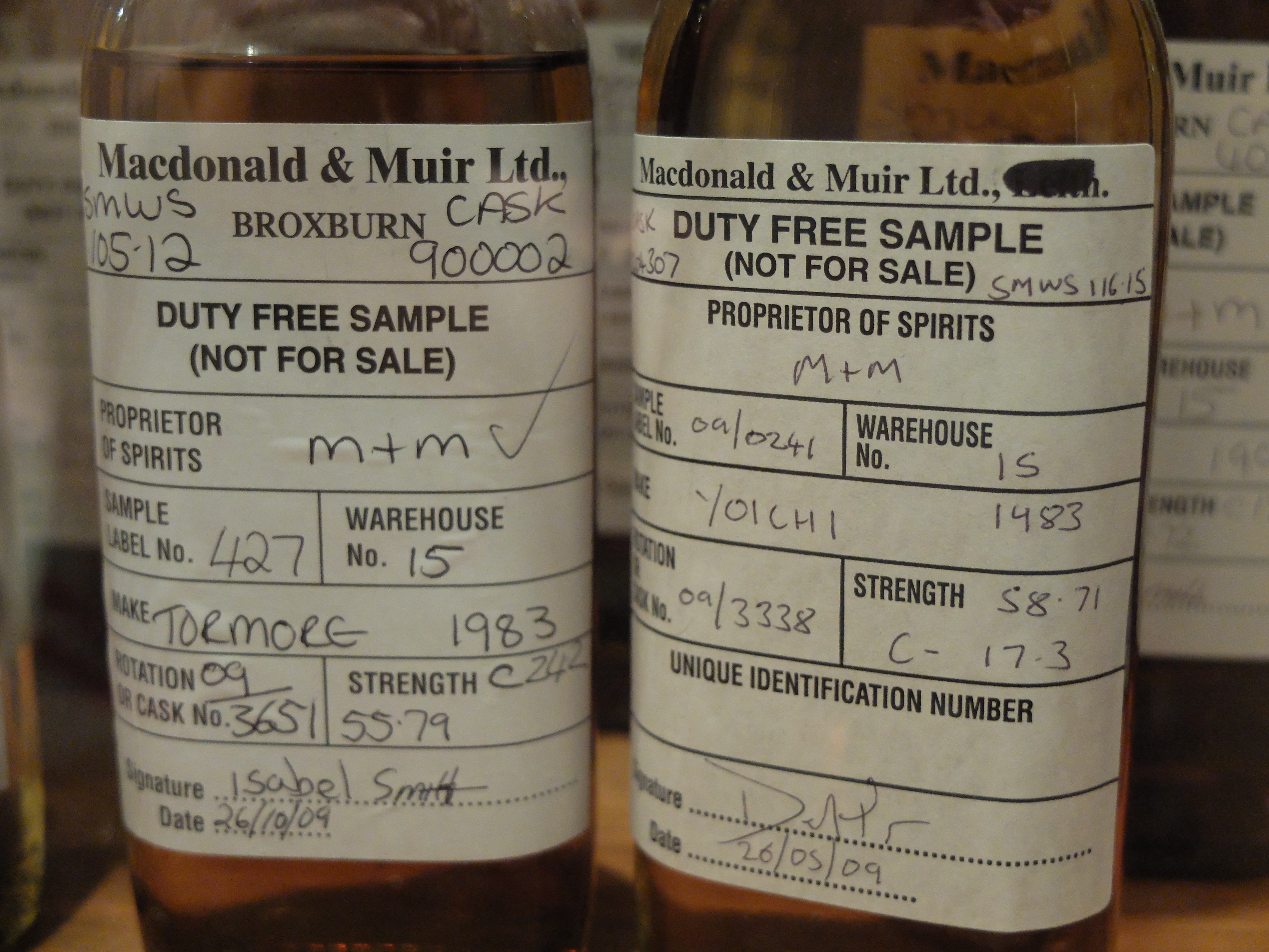 SMWS Tormore 105.12 and Yoichi 116.15