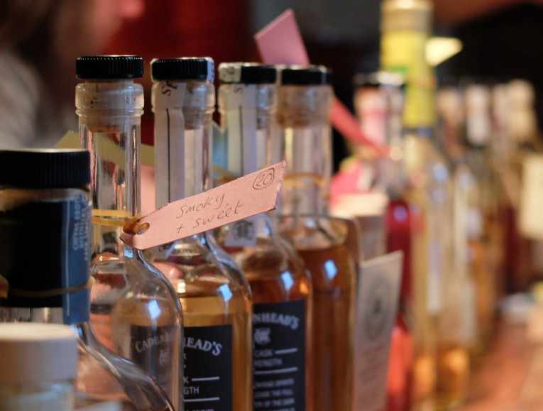 The long line of whiskies, all with rough tasting profiles..