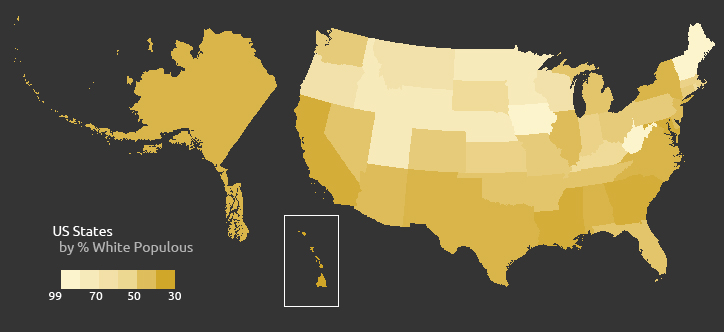 US White Populous Percentage per State
