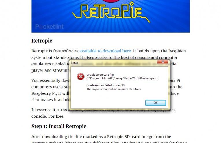 Win32 DiskImager - 740 Error